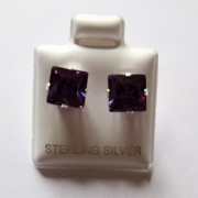 7mm square Princess cut Amethyst Cubic Zirconia Sterling silver Stud earrings